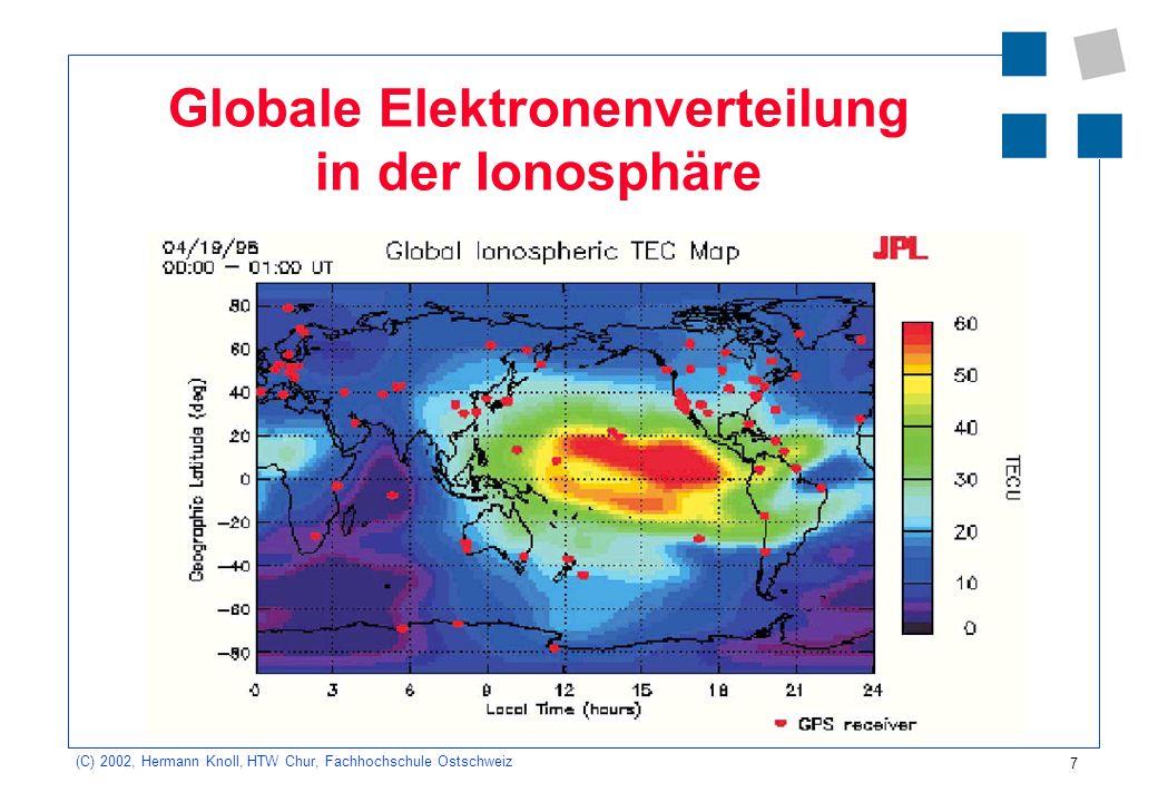 Globale Elektronenverteilung in der Ionosphäre