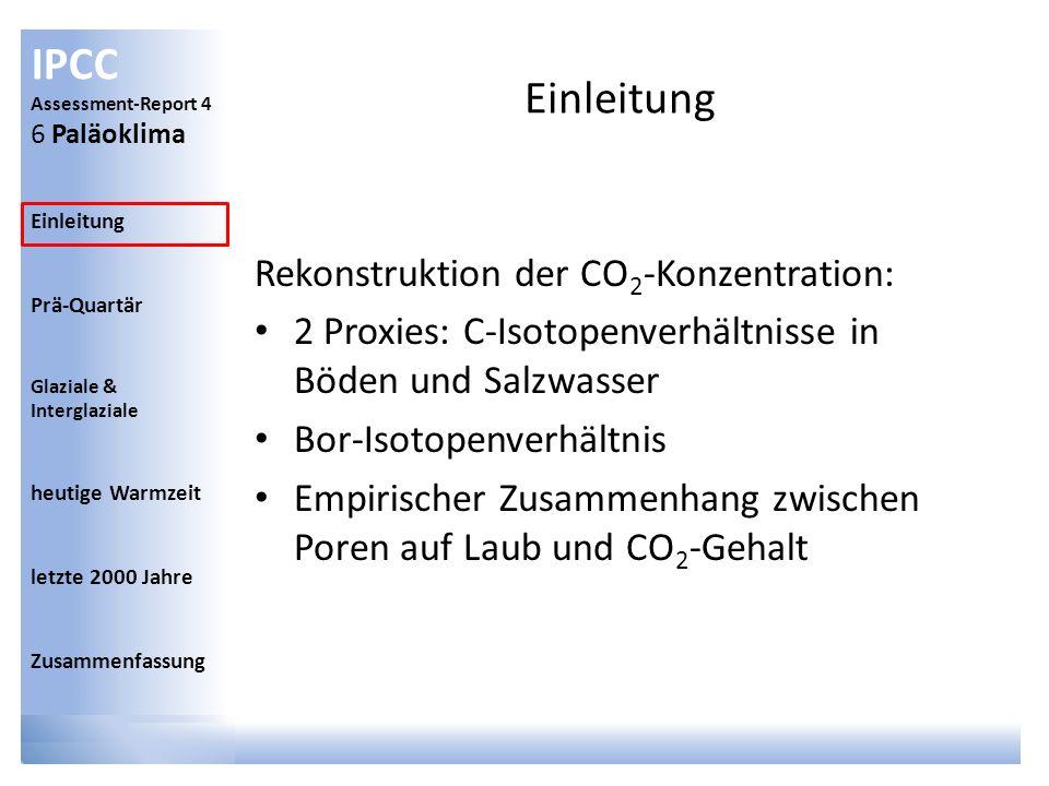 Einleitung Rekonstruktion der CO2-Konzentration: