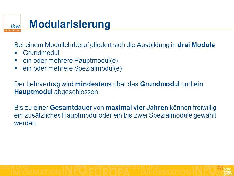 Modularisierung Bei einem Modullehrberuf gliedert sich die Ausbildung in drei Module: Grundmodul. ein oder mehrere Hauptmodul(e)