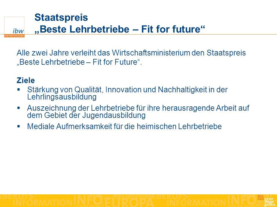"Staatspreis ""Beste Lehrbetriebe – Fit for future"