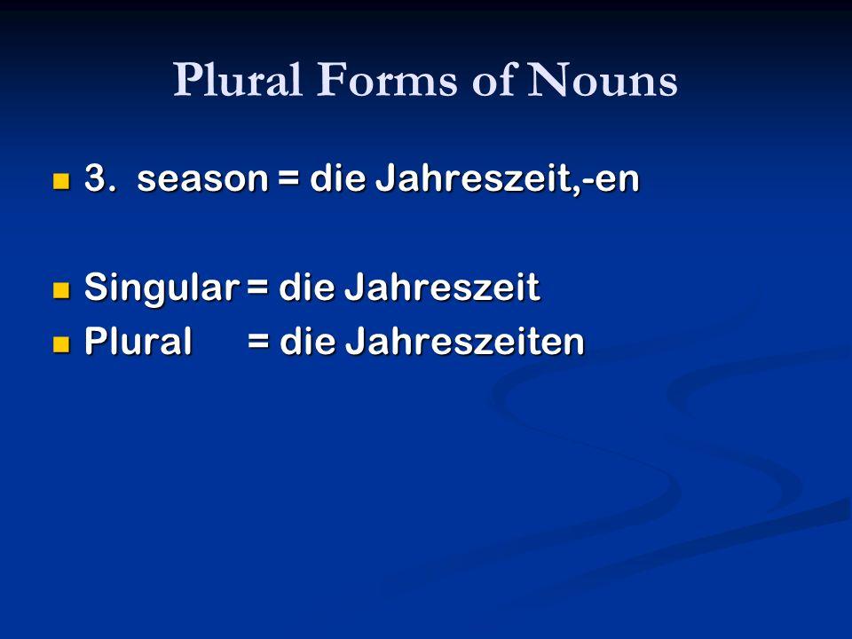 Plural Forms of Nouns 3. season = die Jahreszeit,-en