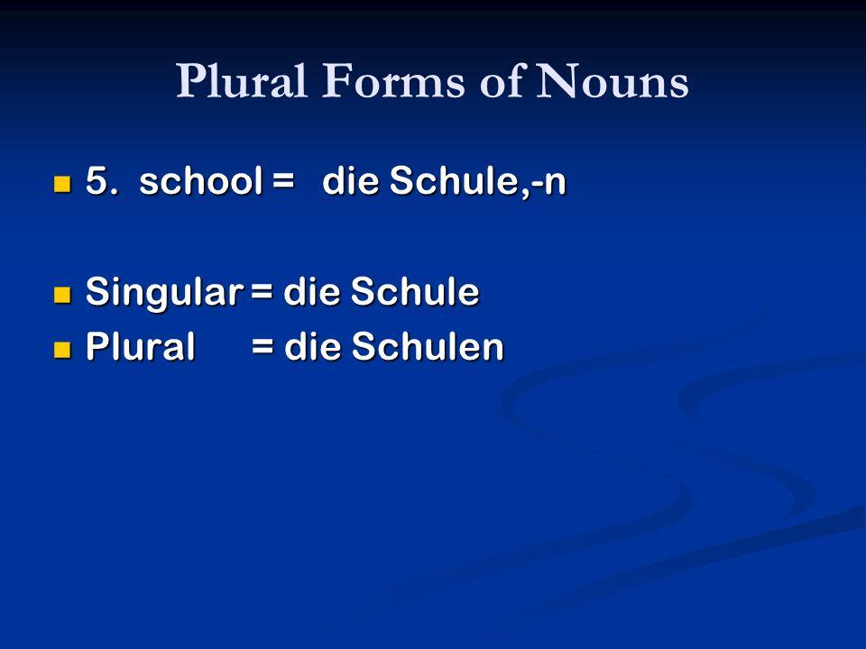 Plural Forms of Nouns 5. school = die Schule,-n Singular = die Schule
