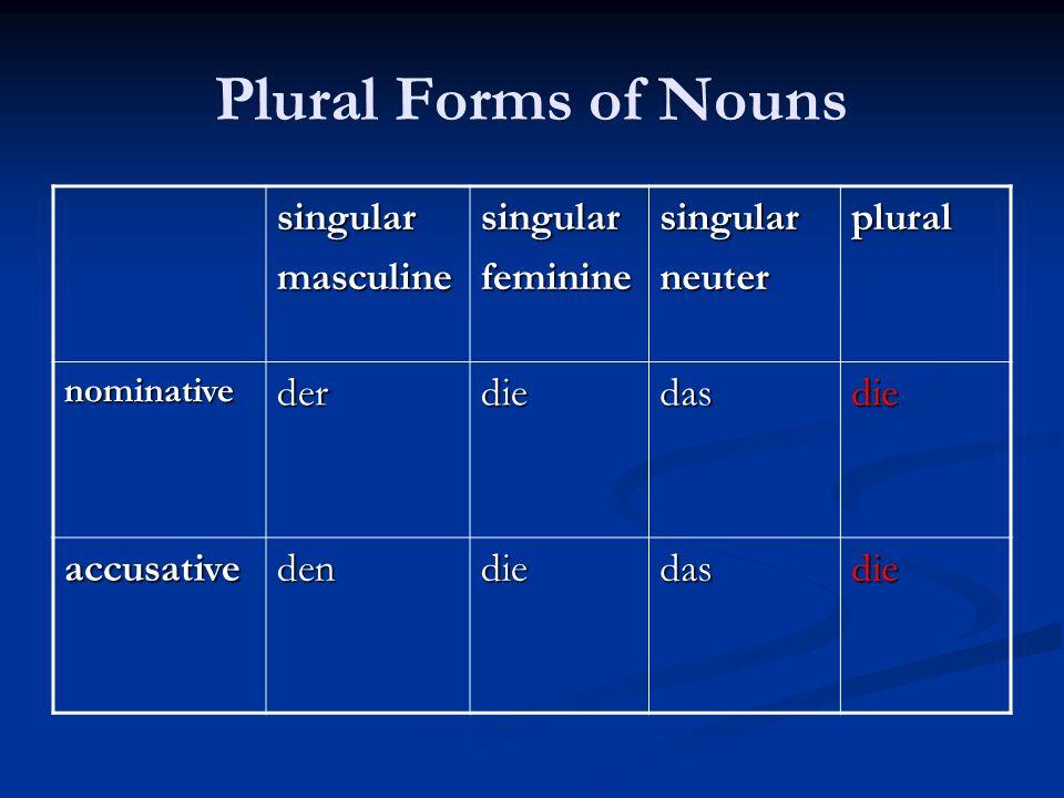 Plural Forms of Nouns singular masculine feminine neuter plural der