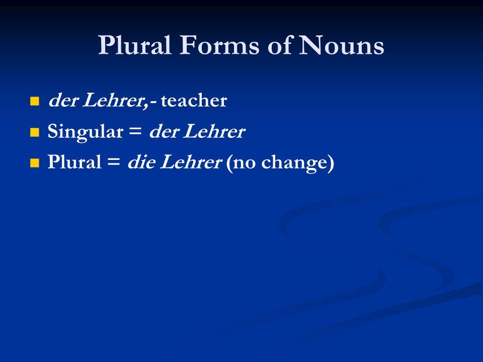 Plural Forms of Nouns der Lehrer,- teacher Singular = der Lehrer