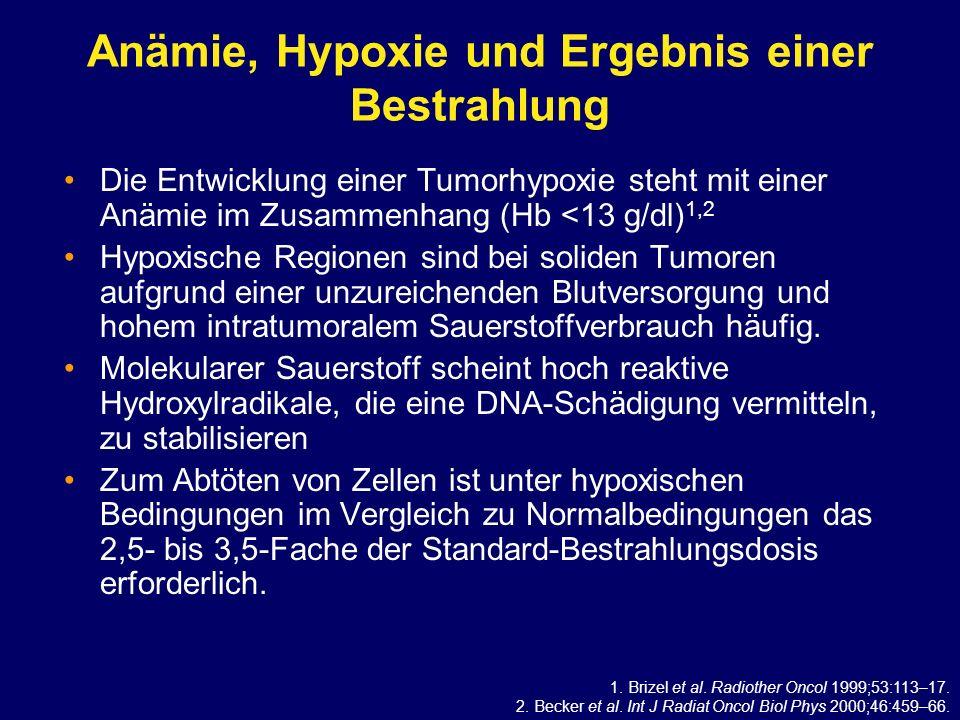 Anämie, Hypoxie und Ergebnis einer Bestrahlung