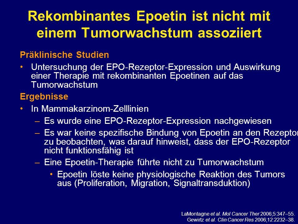 Rekombinantes Epoetin ist nicht mit einem Tumorwachstum assoziiert