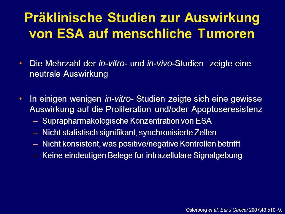 Präklinische Studien zur Auswirkung von ESA auf menschliche Tumoren