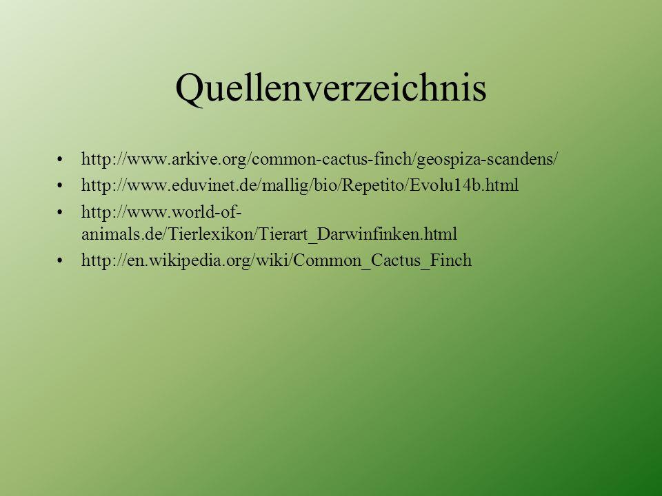 Quellenverzeichnis http://www.arkive.org/common-cactus-finch/geospiza-scandens/ http://www.eduvinet.de/mallig/bio/Repetito/Evolu14b.html.