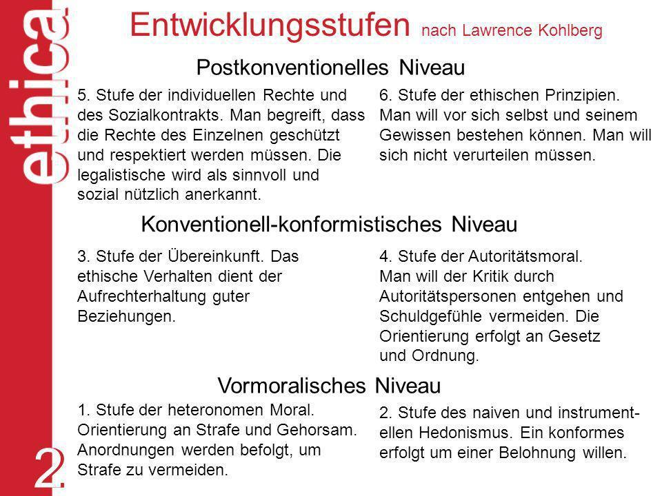 2 Entwicklungsstufen nach Lawrence Kohlberg Postkonventionelles Niveau