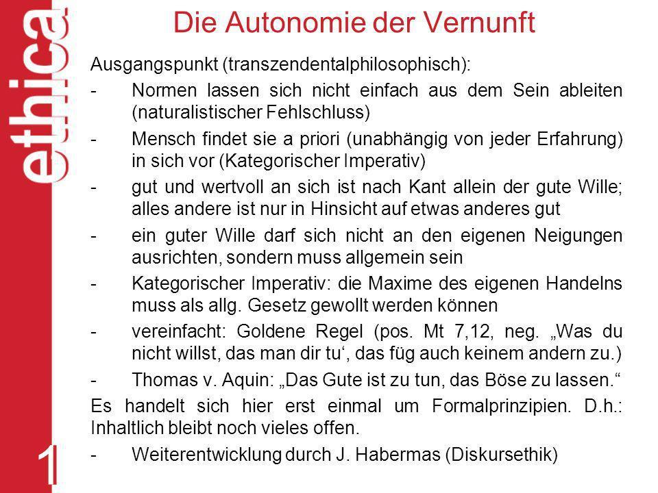 Die Autonomie der Vernunft
