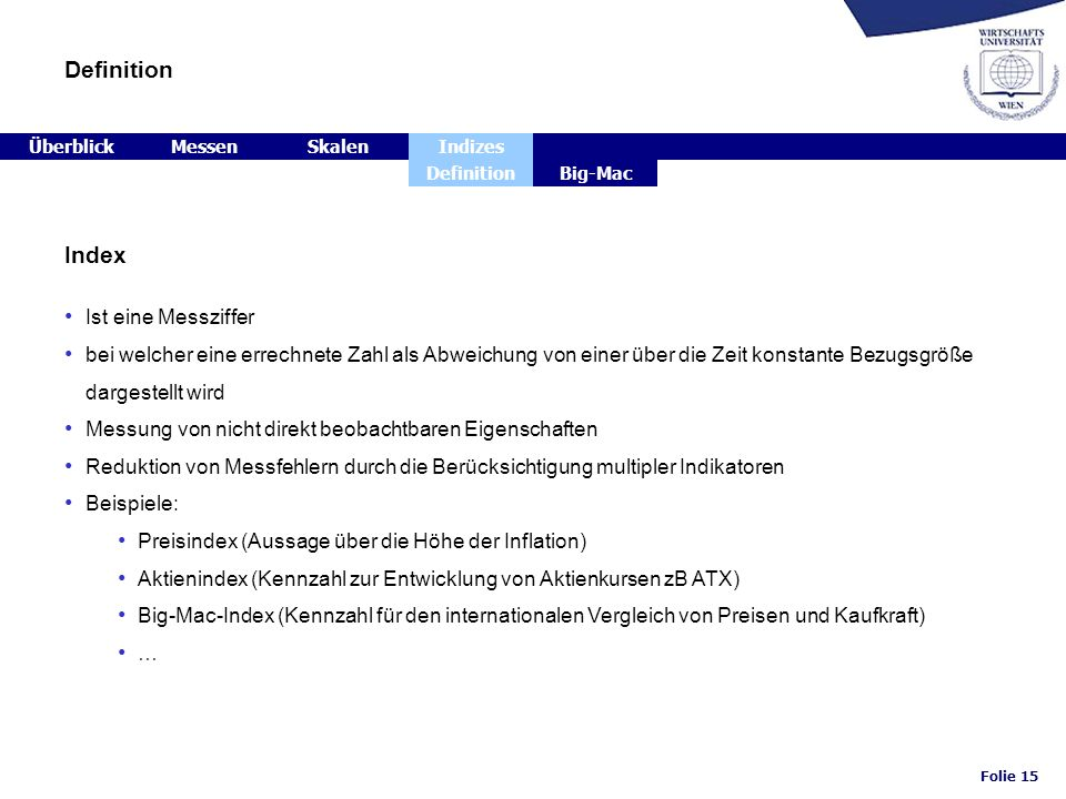 Definition Index Ist eine Messziffer