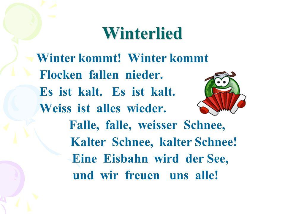 Winterlied Flocken fallen nieder. Es ist kalt. Es ist kalt.