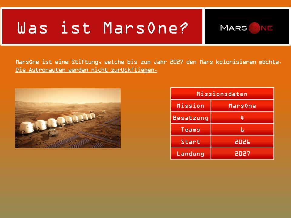 Was ist MarsOne MarsOne ist eine Stiftung, welche bis zum Jahr 2027 den Mars kolonisieren möchte. Die Astronauten werden nicht zurückfliegen.