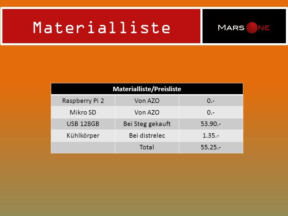 Materialliste/Preisliste