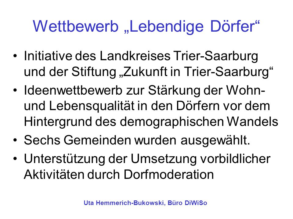 "Wettbewerb ""Lebendige Dörfer"