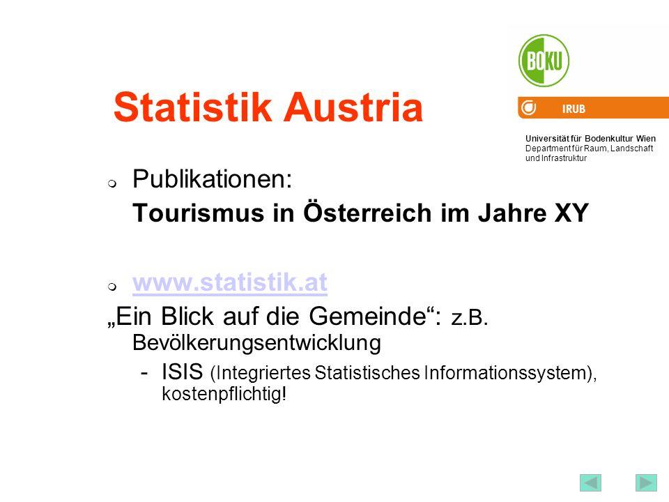 Statistik Austria Publikationen: Tourismus in Österreich im Jahre XY