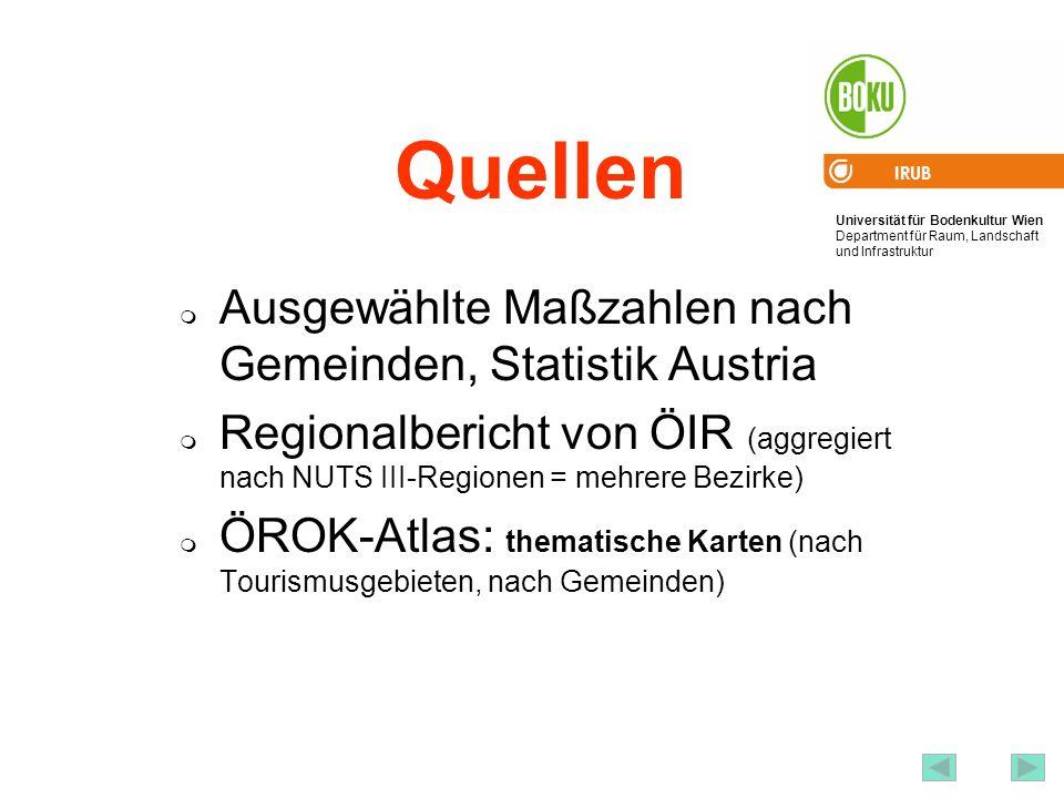 Quellen Ausgewählte Maßzahlen nach Gemeinden, Statistik Austria