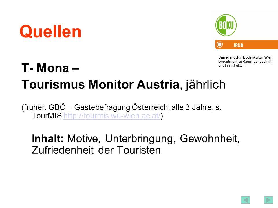 Quellen T- Mona – Tourismus Monitor Austria, jährlich