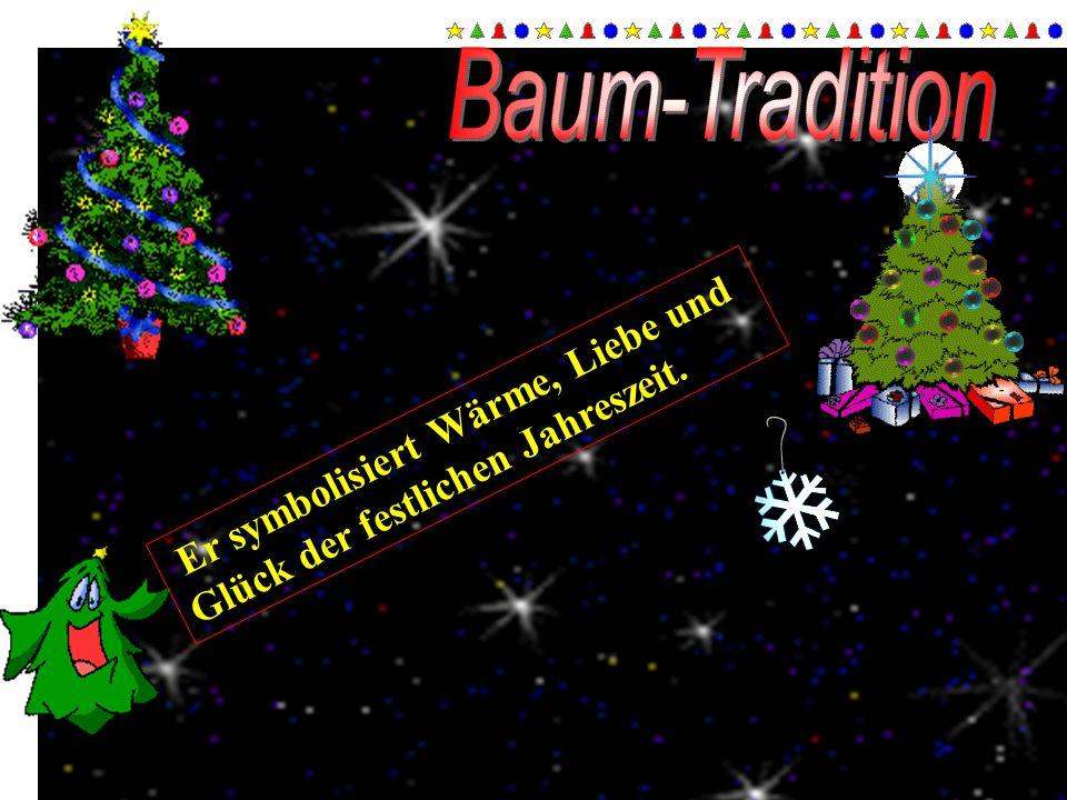 Baum-Tradition Er symbolisiert Wärme, Liebe und Glück der festlichen Jahreszeit.
