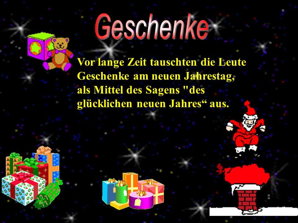 Geschenke Vor lange Zeit tauschten die Leute Geschenke am neuen Jahrestag, als Mittel des Sagens des glücklichen neuen Jahres aus.