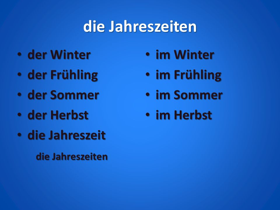 die Jahreszeiten der Winter der Frühling der Sommer der Herbst