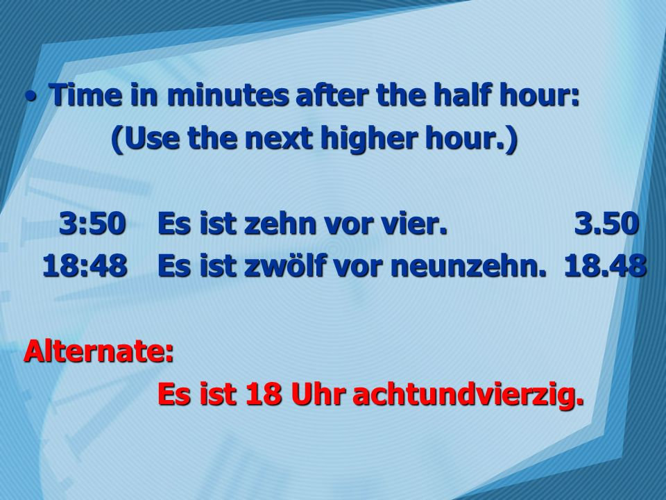 Time in minutes after the half hour: