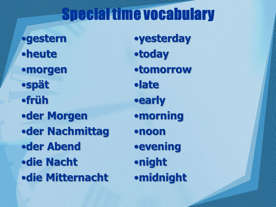 Special time vocabulary