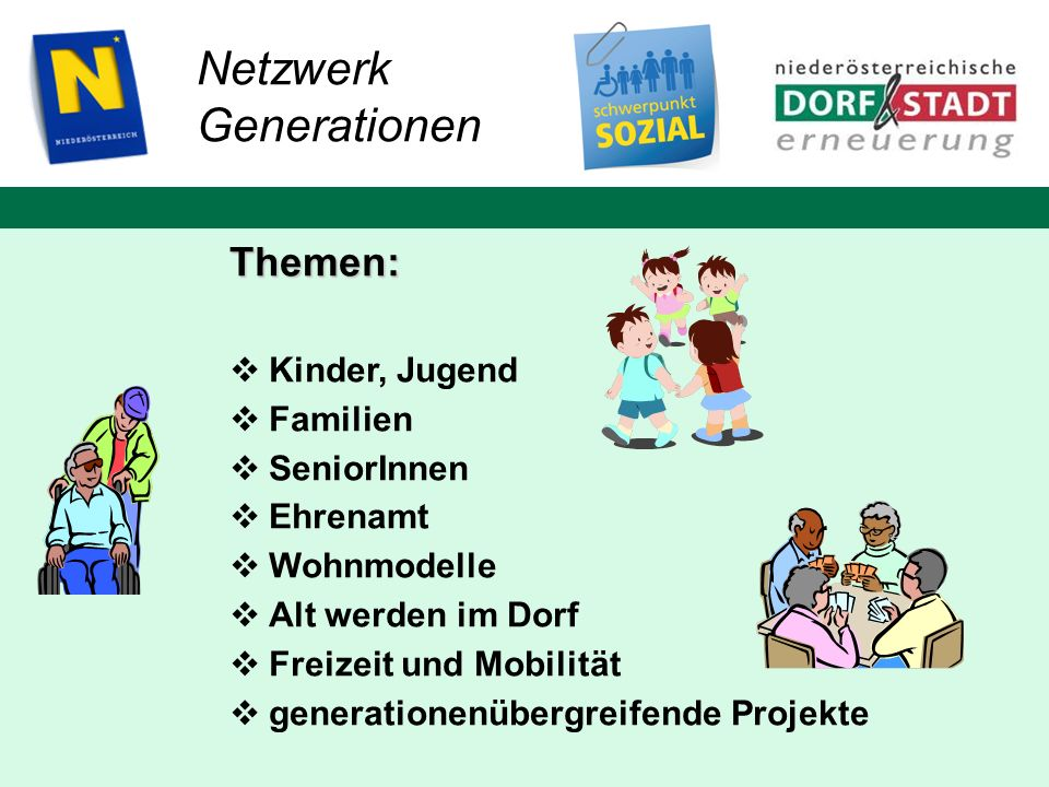 Netzwerk Generationen Themen: Kinder, Jugend Familien SeniorInnen