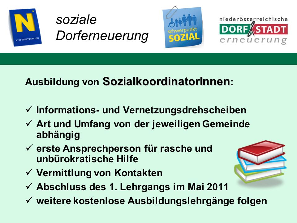 soziale Dorferneuerung Ausbildung von SozialkoordinatorInnen: