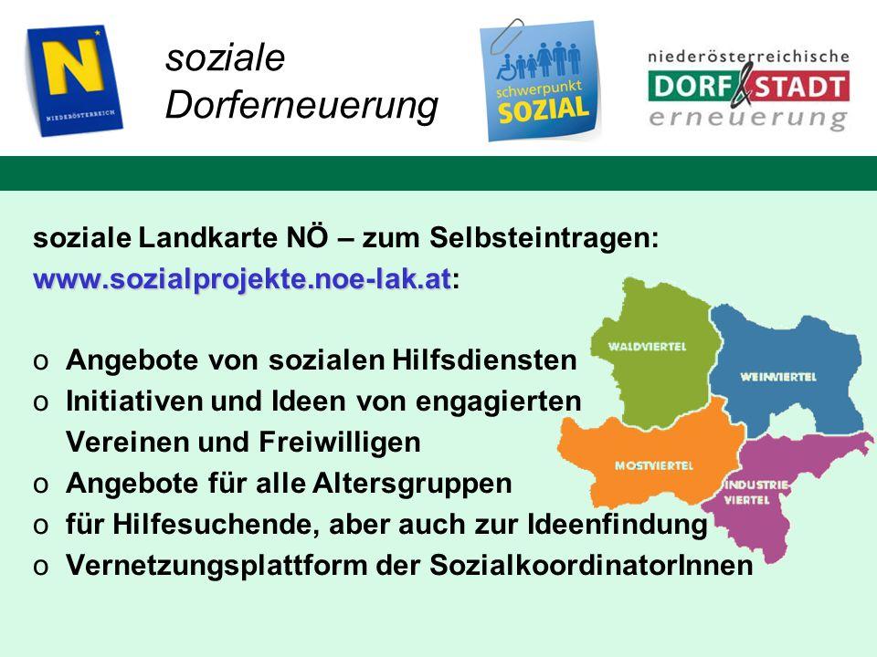 soziale Dorferneuerung soziale Landkarte NÖ – zum Selbsteintragen: