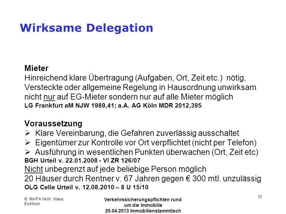 Wirksame Delegation Mieter