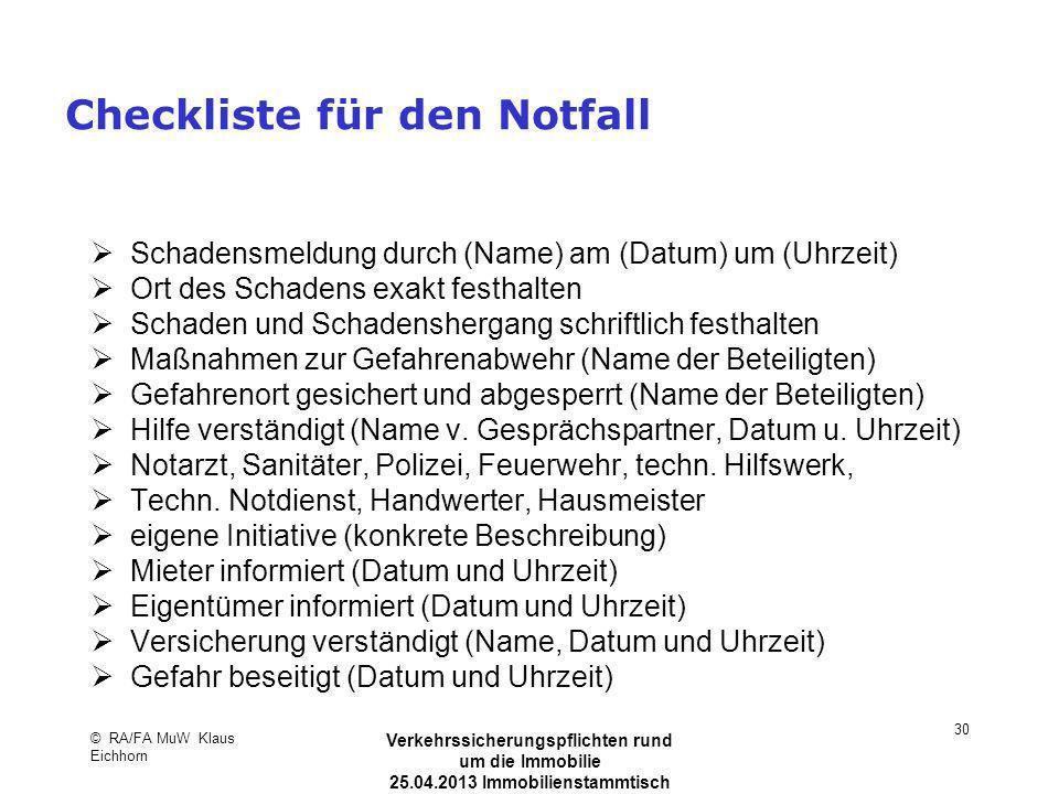 Checkliste für den Notfall