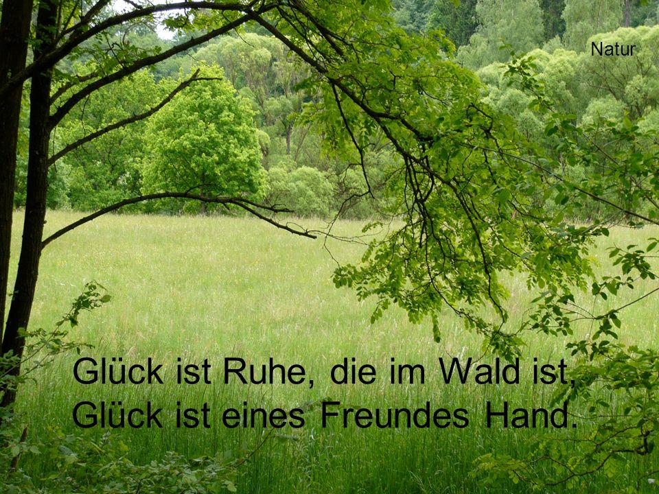 Glück ist Ruhe, die im Wald ist, Glück ist eines Freundes Hand.