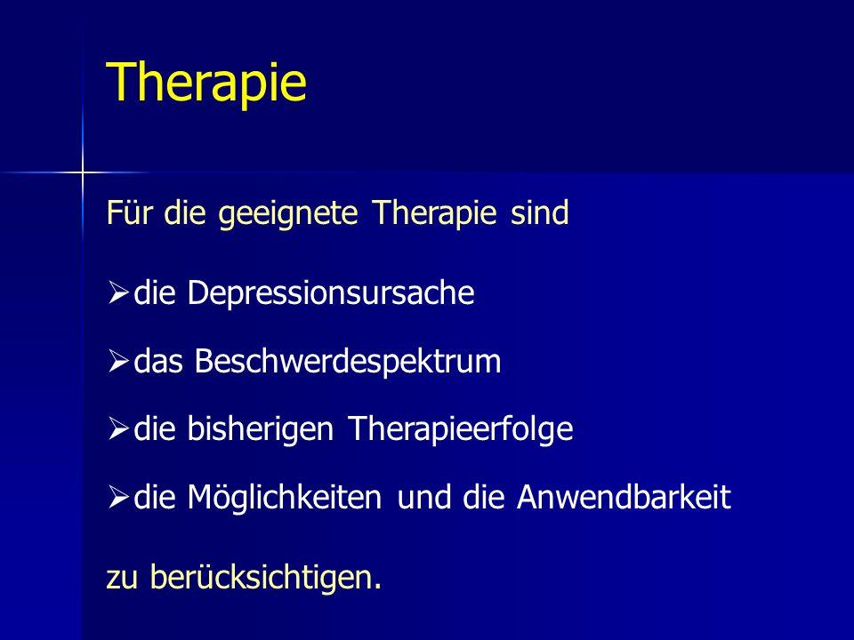 Therapie Für die geeignete Therapie sind die Depressionsursache