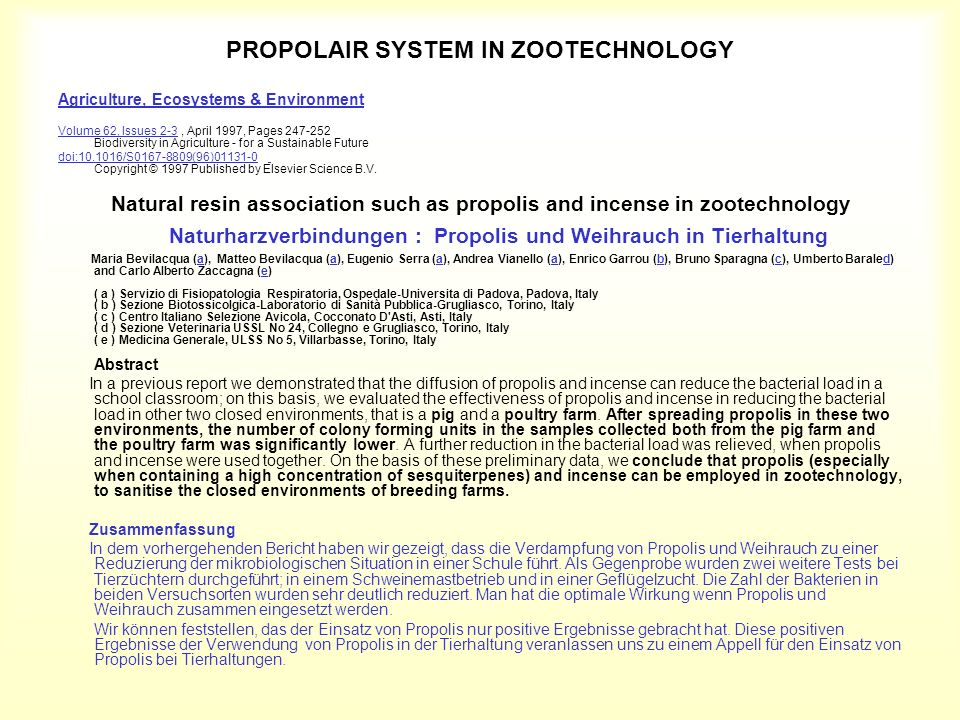 PROPOLAIR SYSTEM IN ZOOTECHNOLOGY