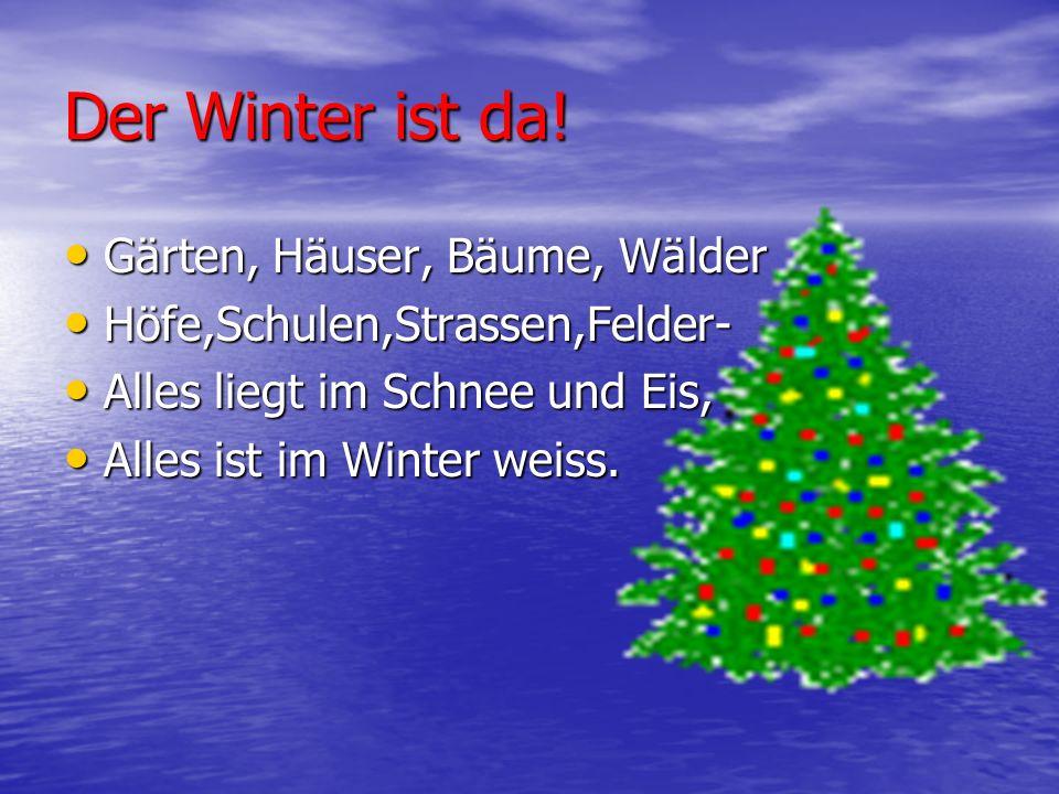 Der Winter ist da! Gärten, Häuser, Bäume, Wälder