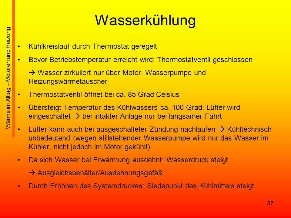 Wasserkühlung Kühlkreislauf durch Thermostat geregelt