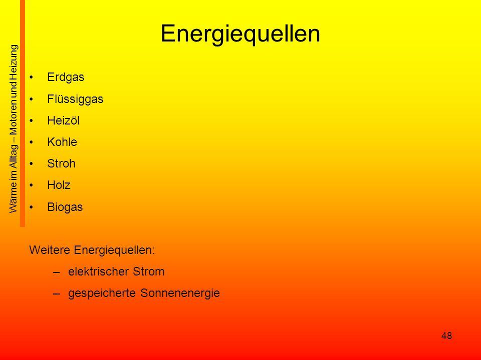 Energiequellen Erdgas Flüssiggas Heizöl Kohle Stroh Holz Biogas