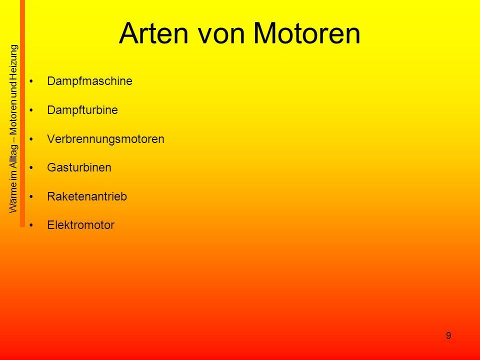 Arten von Motoren Dampfmaschine Dampfturbine Verbrennungsmotoren