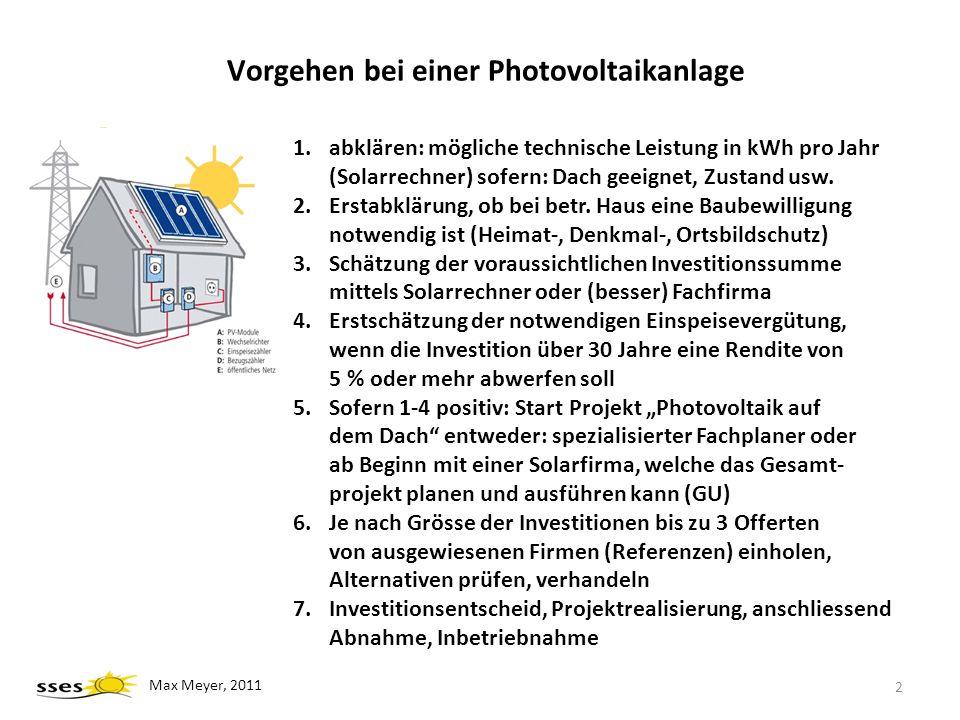 Vorgehen bei einer Photovoltaikanlage