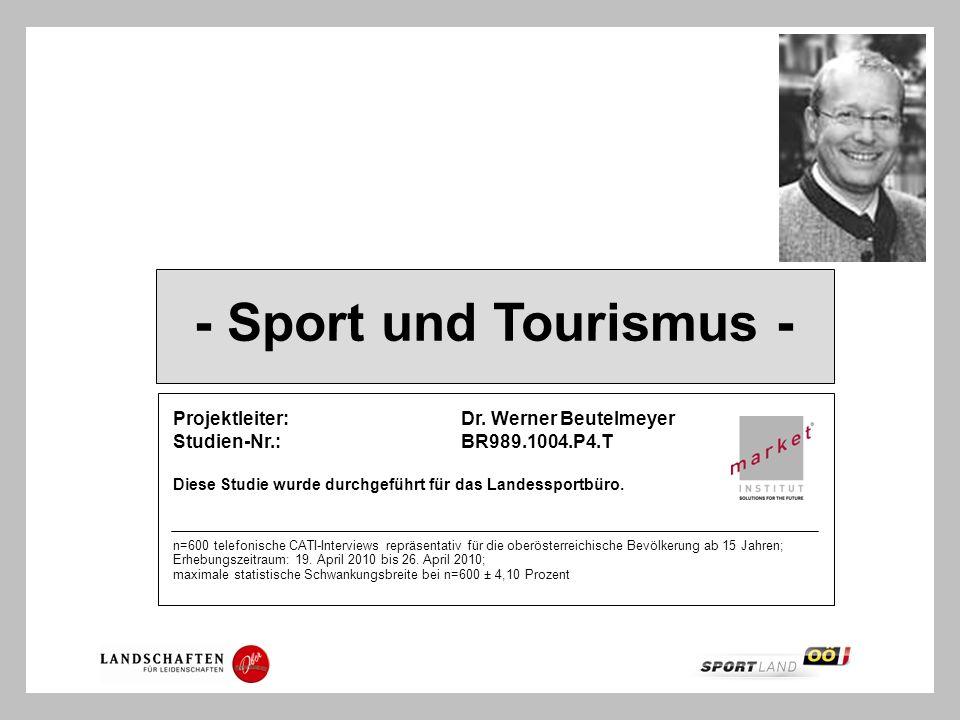 - Sport und Tourismus - Projektleiter: Dr. Werner Beutelmeyer