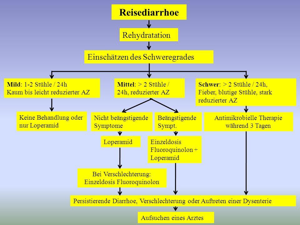 Reisediarrhoe Rehydratation Einschätzen des Schweregrades
