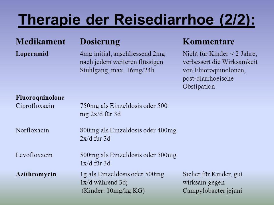 Therapie der Reisediarrhoe (2/2):