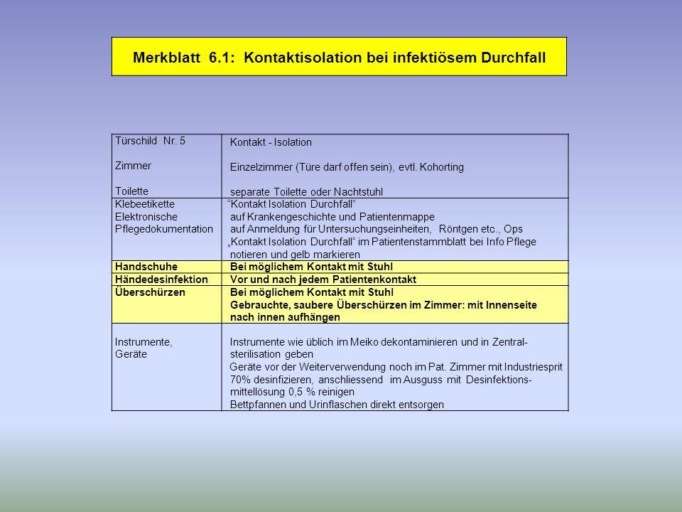 Merkblatt 6.1: Kontaktisolation bei infektiösem Durchfall