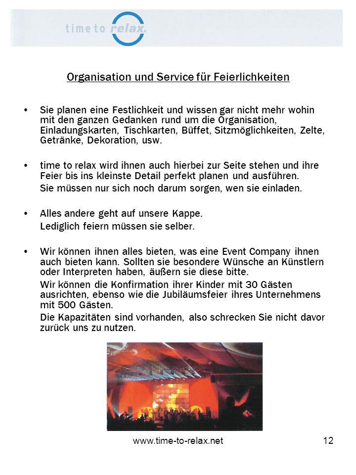 Organisation und Service für Feierlichkeiten