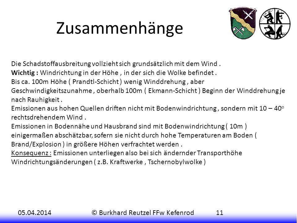 Zusammenhänge Die Schadstoffausbreitung vollzieht sich grundsätzlich mit dem Wind .