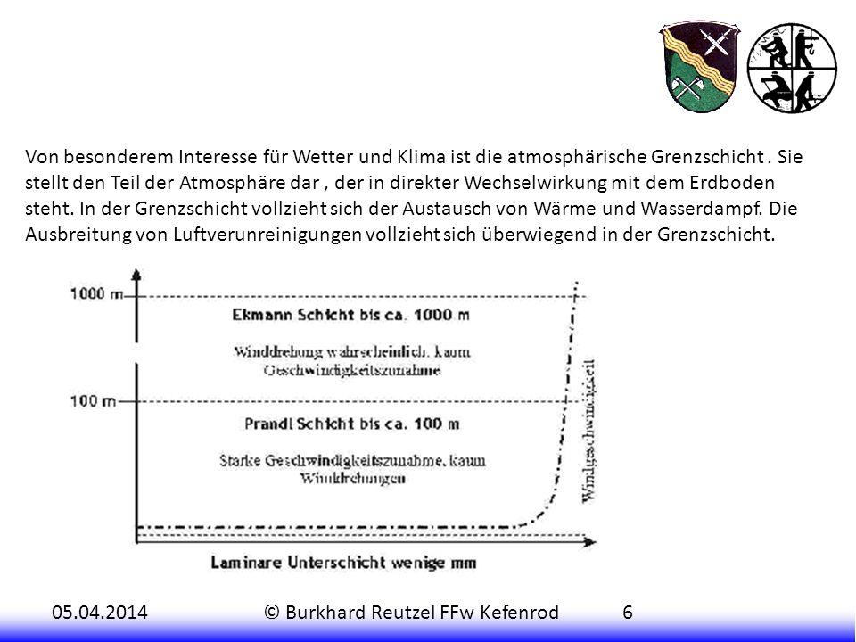 Von besonderem Interesse für Wetter und Klima ist die atmosphärische Grenzschicht .