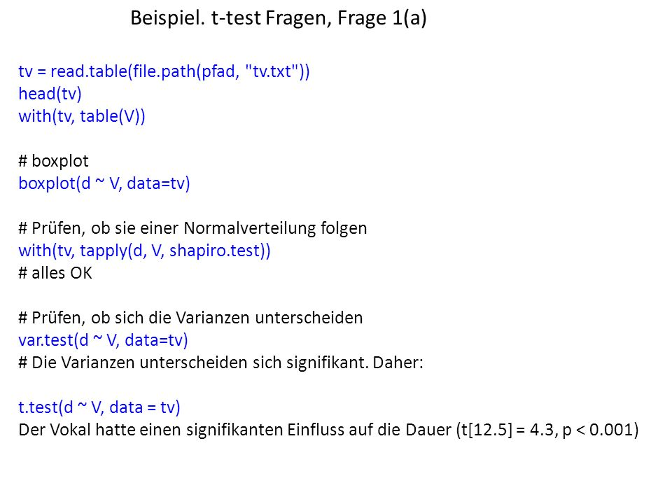 Beispiel. t-test Fragen, Frage 1(a)