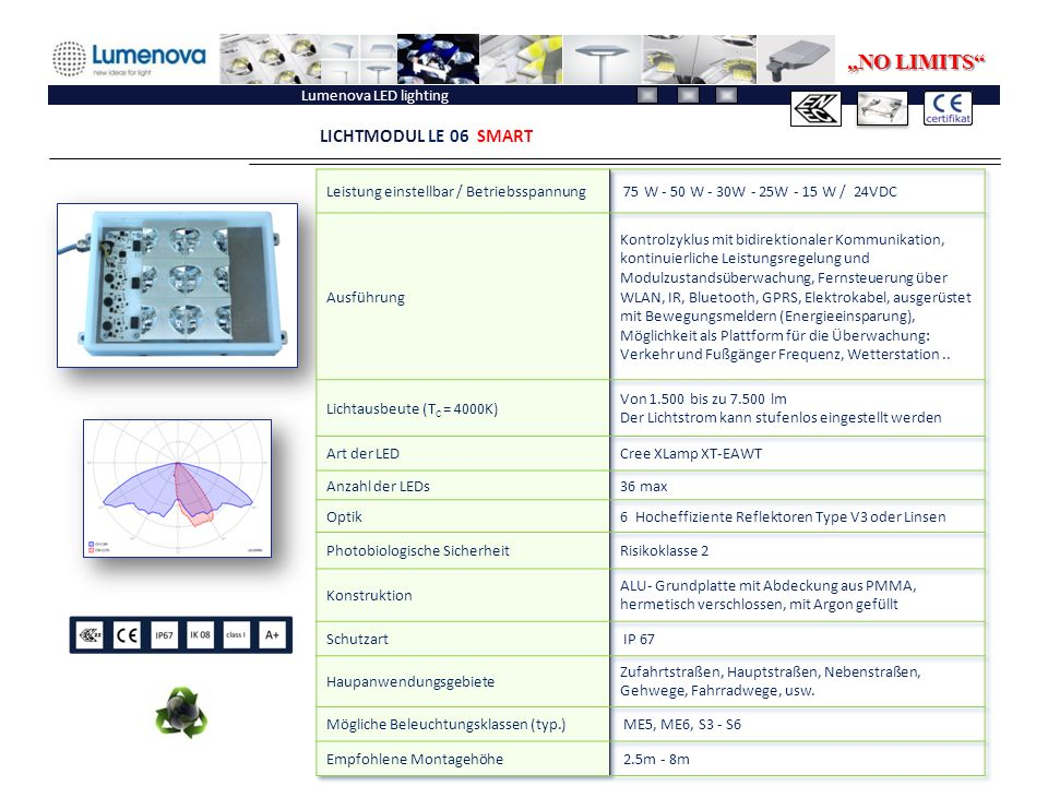 """NO LIMITS LICHTMODUL LE 06 SMART Lumenova LED lighting"