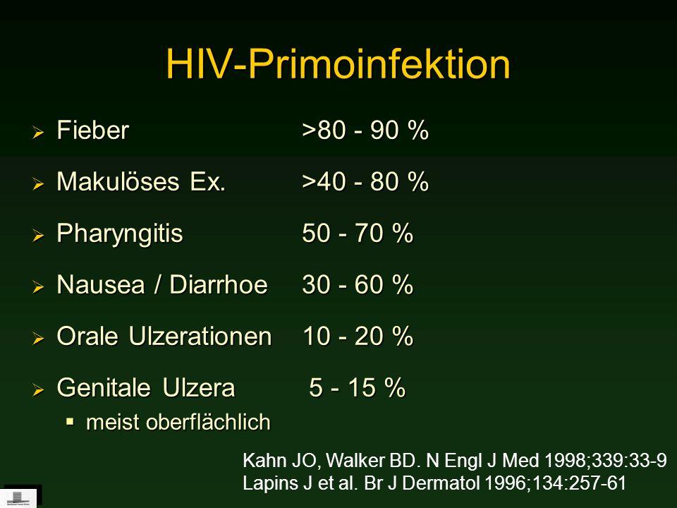 HIV-Primoinfektion Fieber >80 - 90 % Makulöses Ex. >40 - 80 %